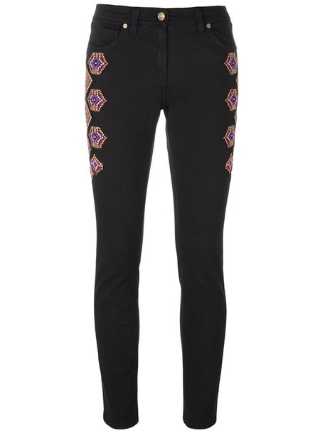 ETRO embroidered women spandex cotton black pants