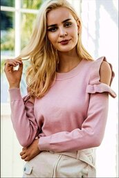 blouse,cut shoulder,cute top,off the shoulder,long sleeves,light pink,skirt top,skirt sweater,pink sweater,slim,thin sweater,casual,cool,hot,urnam,urban,party,party top,jeans top,moraki,cute,cut-out shoulder top,pale pink sweater,knit,knitwear,knitted sweater,girly,girl,girly wishlist,style,stylish,style me,streetstyle,streetwear,street,fashion,tumblr girl,tumblr top