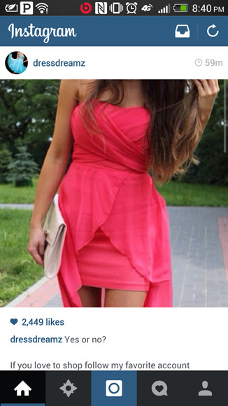 dress coral dress high-low dresses pink dress sweetheart dresses ruffles chiffon organza dress