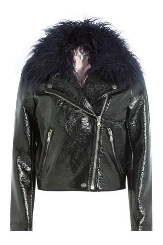 jacket fur faux fur black