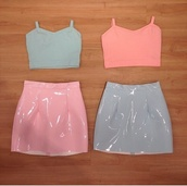 skirt,pastel pink,pastel blue,crop tops,tank top,pvc,pink vinyl skirt,vinyl skirt,high waisted skirt,pastel