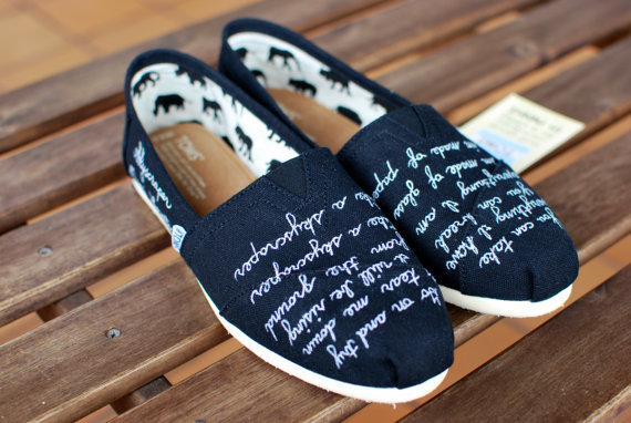 Demi lovato skyscraper quote toms shoes by bstreetshoes on etsy