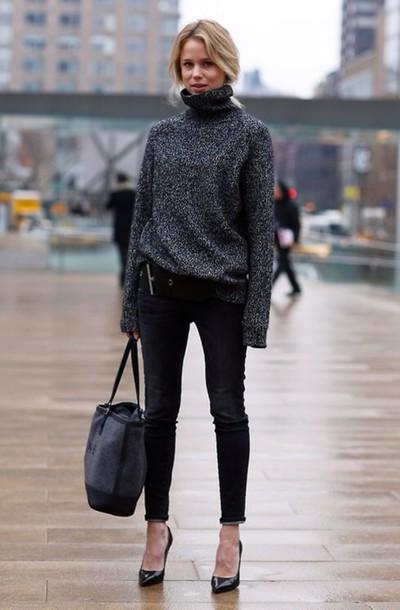 Sweater Bag Shirt Turtleneck Oversized Jumper Pullover Knit