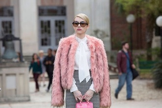 coat pink fur scream queens emma roberts fuzzy coat