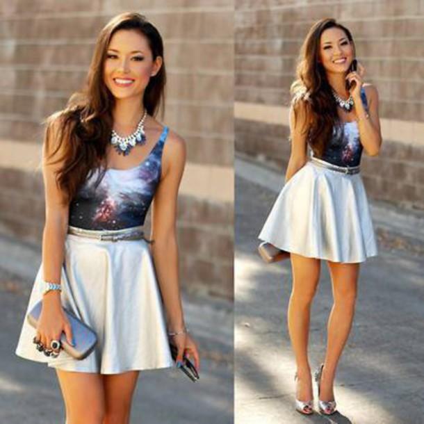 top skirt heels clutch necklace space print