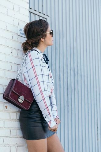 bag tumblr red bag burgundy shirt checkered checkered shirt skirt black skirt black leather skirt leather skirt burgundy bag braid hairstyles fall outfits outfit idea mini skirt