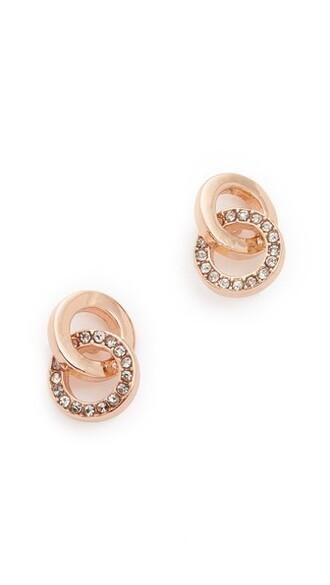 rose gold rose clear infinity earrings stud earrings gold jewels