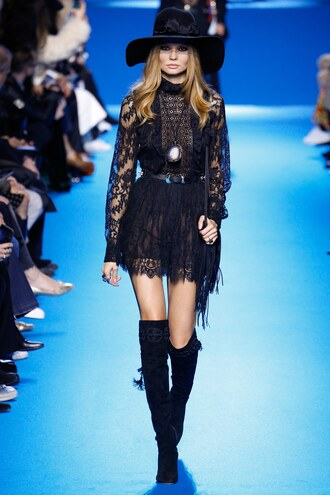 dress mini dress boho dress all black everything black dress lace dress hat runway fashion week 2016 paris fashion week 2016 elie saab