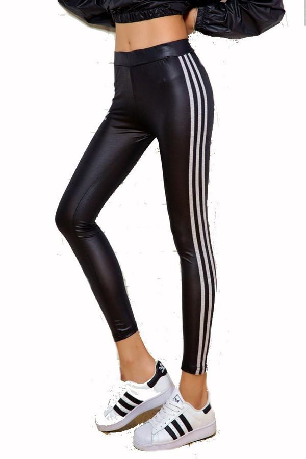 tights stripes adidas leggings adidas stripes leather look black tight active activewear. Black Bedroom Furniture Sets. Home Design Ideas
