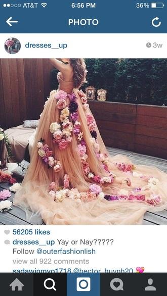 dress flowers peach peach dress