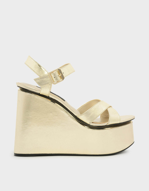 cross criss cross wedges leather gold shoes