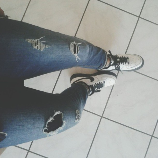 jeans ripped denim shoes