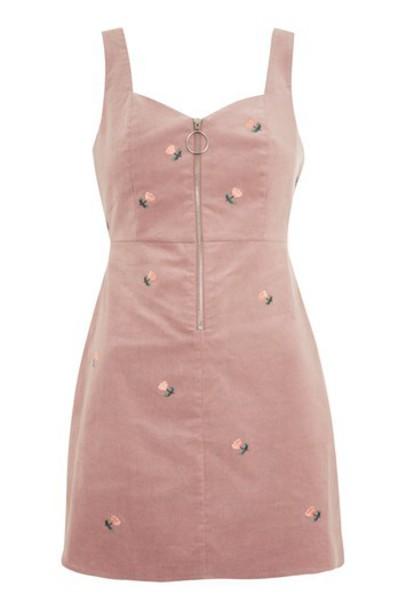 Topshop dress embroidered blush