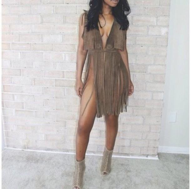 dress fringes fringed dress beige dress Khaki dress taupe brown dress