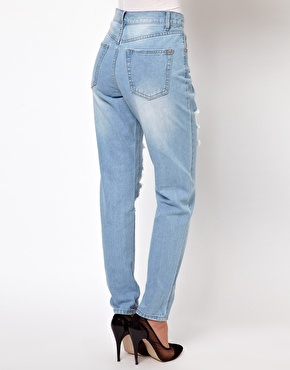 Glamorous Boyfriend Jeans In Light Wash Distressed Denim at ASOS