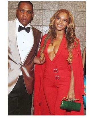 jumpsuit red beyonce jay z plunge v neck