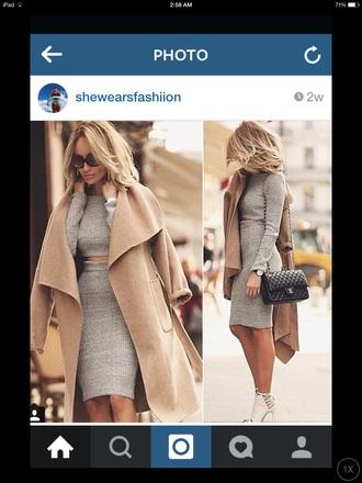 dress grey dress topcropskirtset coat bag high heels street style