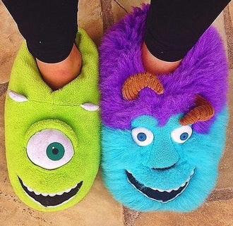 shoes monster cartoon pixar disney green violet cool funny home decor warm monsters inc