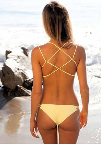 swimwear yellow pastel cute sexy strappy bikini hot summer bikini spring break