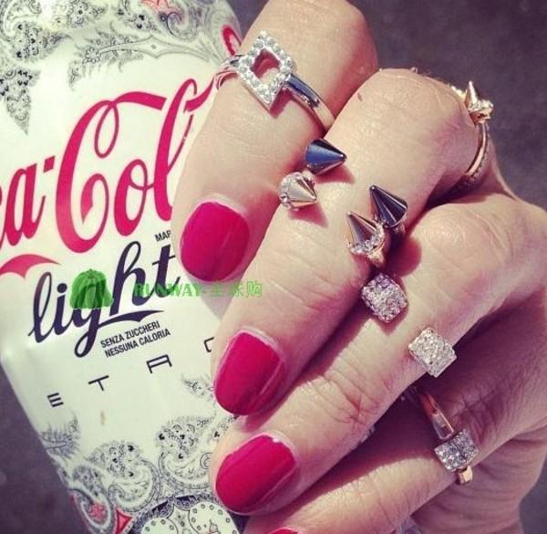 jewels ring rivet cute spikes soike gold silver crystal rhinestones