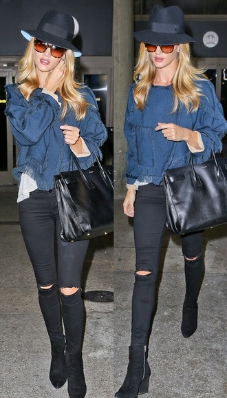 hat fall outfits rosie huntington-whiteley