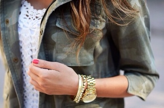 coat jacket green camouflage military trend style