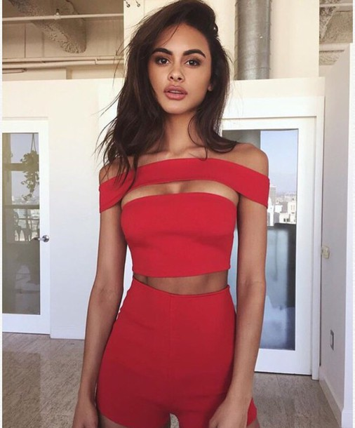 top, red, red top, crop tops, sexy, sexy outfit, party ...