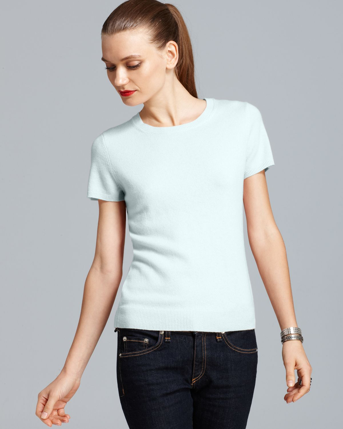 C by Bloomingdale's Cashmere Short Sleeve Shell | Bloomingdale's