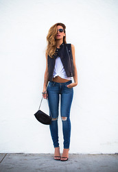 blogger,jacket,sunglasses,bag,shoes,jeans,denim,fashion,skinny jeans,leather jacket,casual,streetstyle,gilet cos,gilet,black jacket,blue jeans,vintage jeans,vintage,top,tank top,white top,white crop tops,white tank top,ripped jeans,hat,white,stylebiss,brown skin,hand in pocket,buttom,silver buttom,gilet black,white t-shirt,black,black leather jacket,chanel,chanel bag,t-shirt,heels,zip-up,instagram,ootd,style,zara,knee high socks,belt,Accessory,accessories,blue,blue skinny jeans,white crop top.,nice body,brown sunglasses,leather vest,black heels,strappy shoes,edgy,shirt,leather,vest