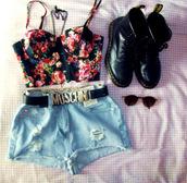 shorts,High waisted shorts,denim shorts,moschino belt black,black boots,floral bralette,top,belt,shoes