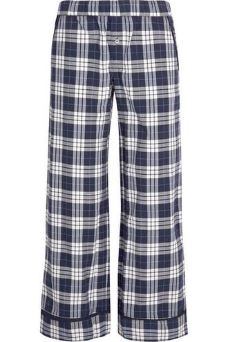 pants pajama pants plaid navy cotton