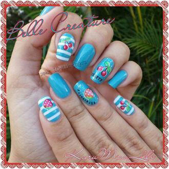 cherry fruit cherries green strawberry nail accessories decoration nail polish nail manicure pedicure hot beach light blue diy strawberries