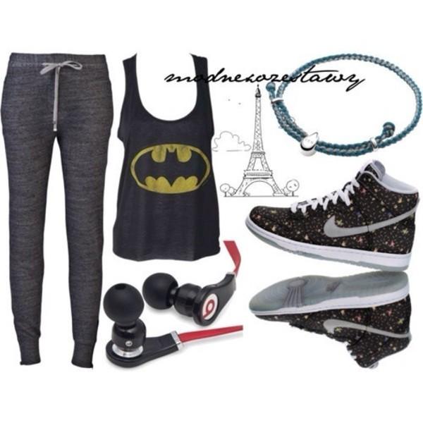 pants dark grey sweatpants baggy sweatpants batman tank nike sneakers nike high tops tank top shoes