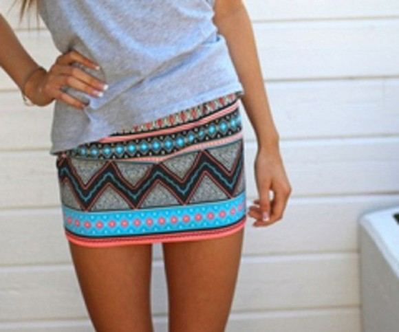 skirt aztec skirt tribal skirt mini skirt tribal pattern aztec neon turqouise peach color pink