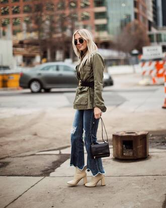 jacket tumblr army green jacket parka denim jeans blue jeans flare jeans ripped jeans boots white boots bag sunglasses