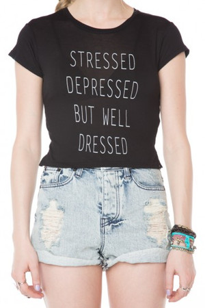Brandy ♥ Melville | Stressed Depressed But Well Dressed Top - Clothing ($18.00) - Svpply