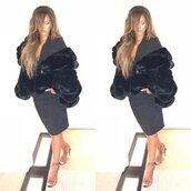 shoes,sandals,black dress,dress,jacket,fur,fur jacket,rihanna,instagram
