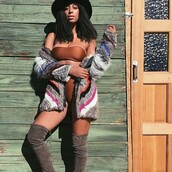 swimwear,solange knowles,thigh high boots,faux fur jacket,suede boots