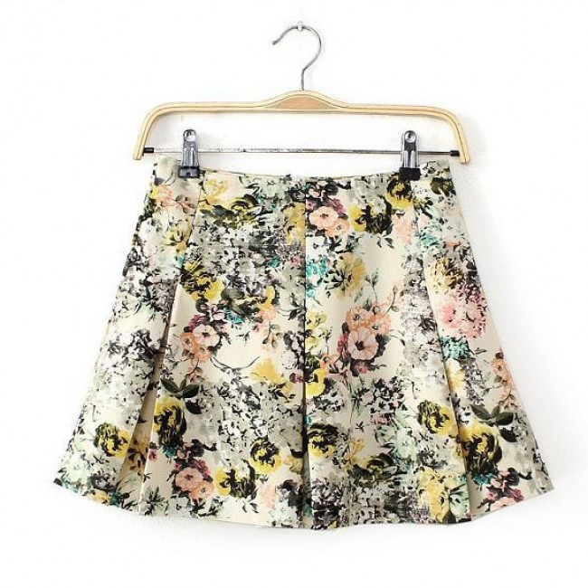 Trim Pleated Floral Skirt