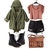 shirt,shorts,shoes,bag,jacket,coat,hunter green,brown crop top,blouse