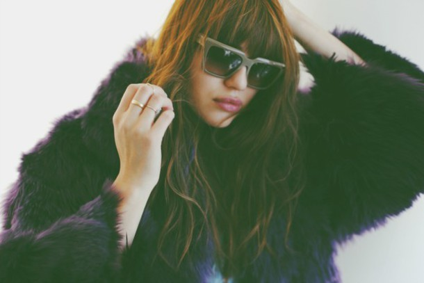 natalie off duty blogger sunglasses purple fluffy fuzzy coat