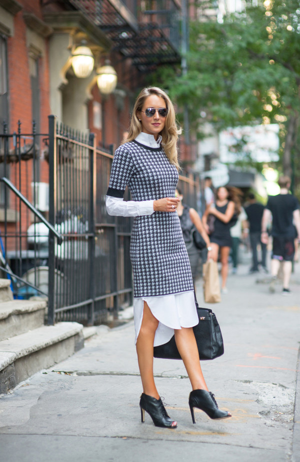the classy cubicle blogger shoes bag sunglasses printed knit dress dress work outfits office outfits streetstyle white dress shirt dress midi dress asymmetrical asymmetrical dress booties black booties peep toe boots black bag fall outfits aviator sunglasses houndstooth