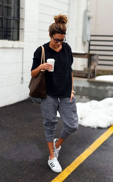 black sweater grey pants