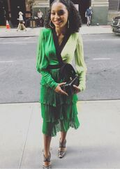 dress,midi dress,green dress,green,yara shahidi,spring outfits,spring dress,sandals,shoes
