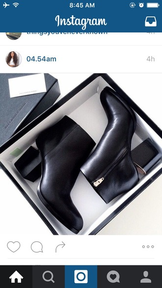 shoes black heels boots heel boots leather cut-out goldzip mid heel boots