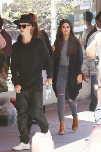 cardigan jeans selena gomez boots top shoes