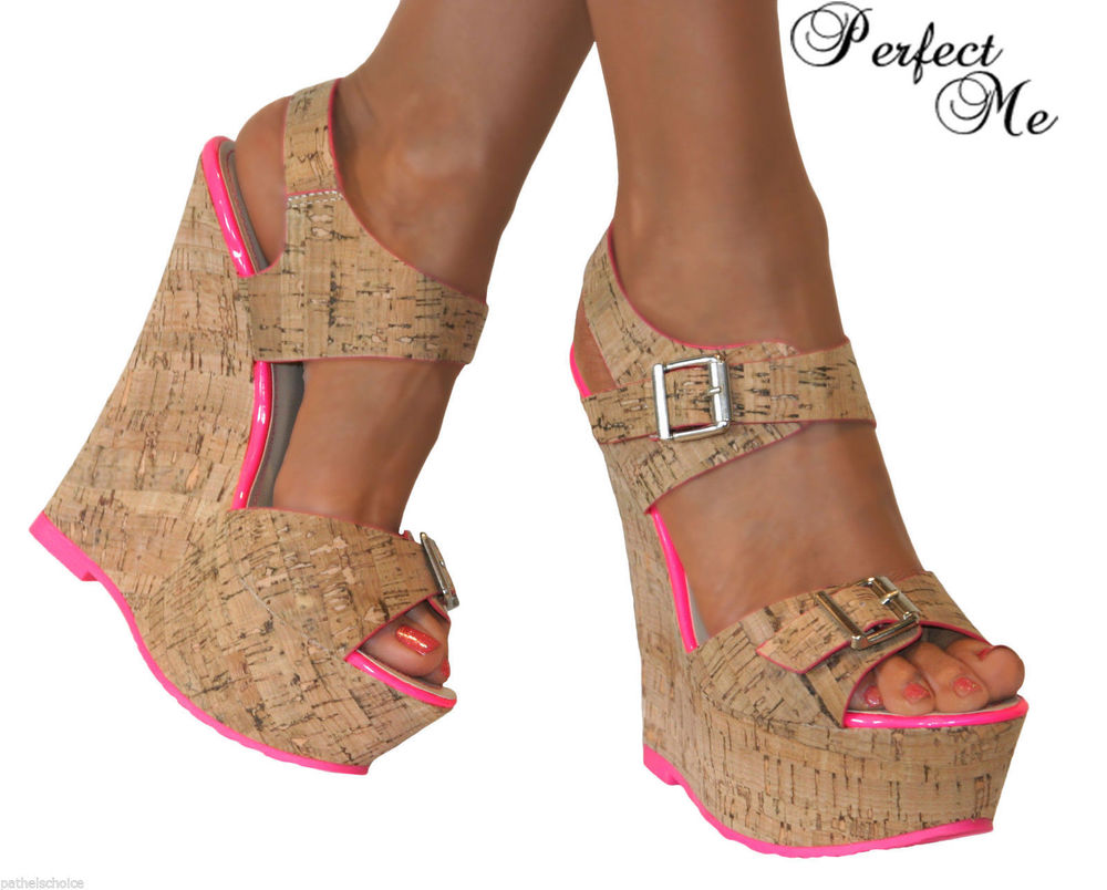 LADIES NUDE CORK WEDGE PLATFORM HIGH HEEL PEEP TOE STRAPPY SHOE SANDAL BUCKLE | eBay