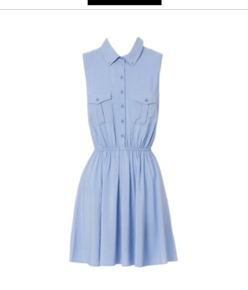 blue baby blue cute dress denim short collar light blue