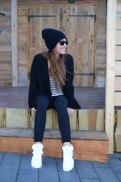 cardigan black and white nike sneakers leggings sunglasses jewels acne studios shoes