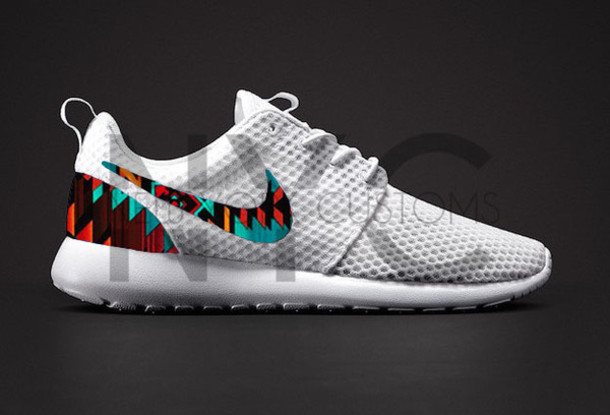 best deals on de3e4 ee098 shoes white aztec tribal pattern nike roshe run nike roshe one tribal  pattern running shoes nike